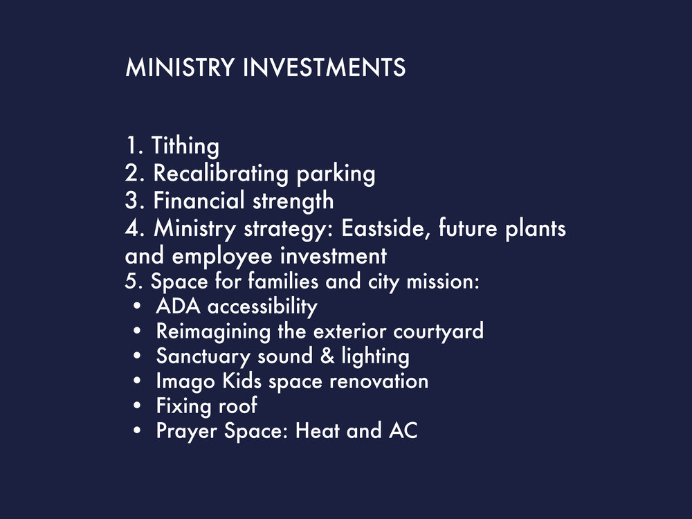 Ministry investments made possible by the lot sale.