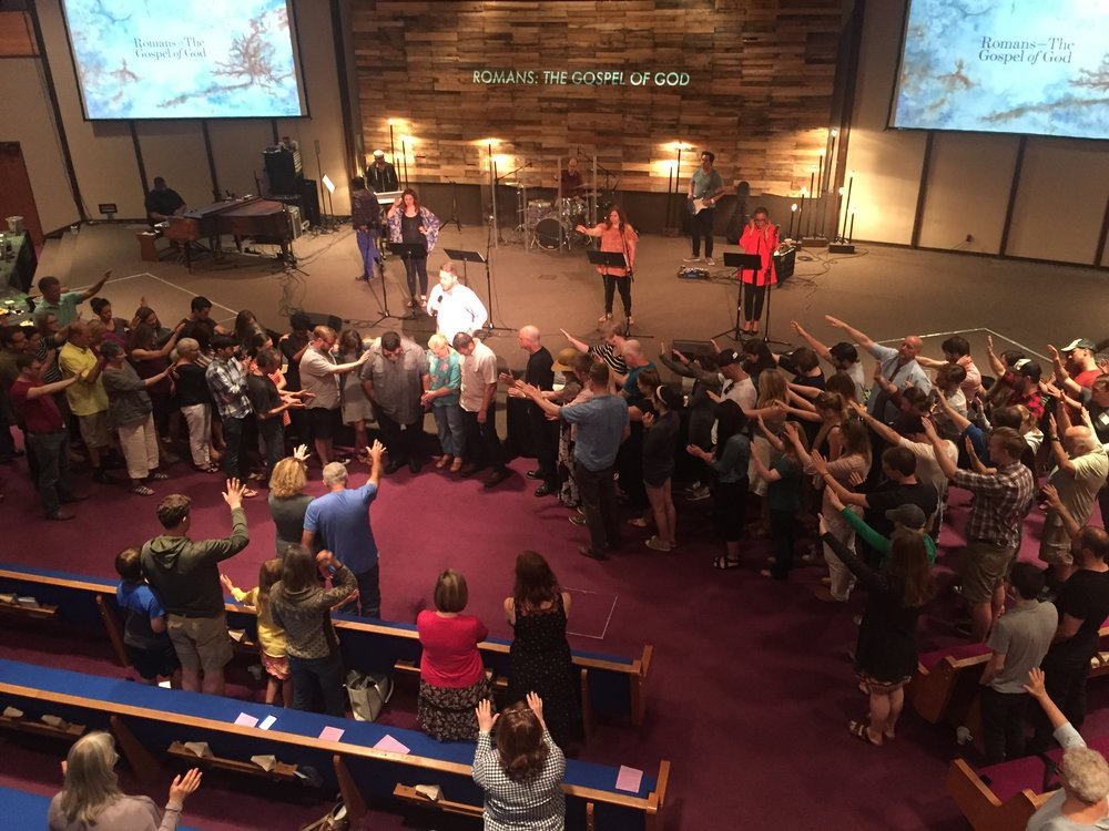 The congregation at Central City Campus (led by Elders John Heintzman and Garry Friesen) pray for Rick & Jeanne as they head out on Sabbatical. Click to enlarge.