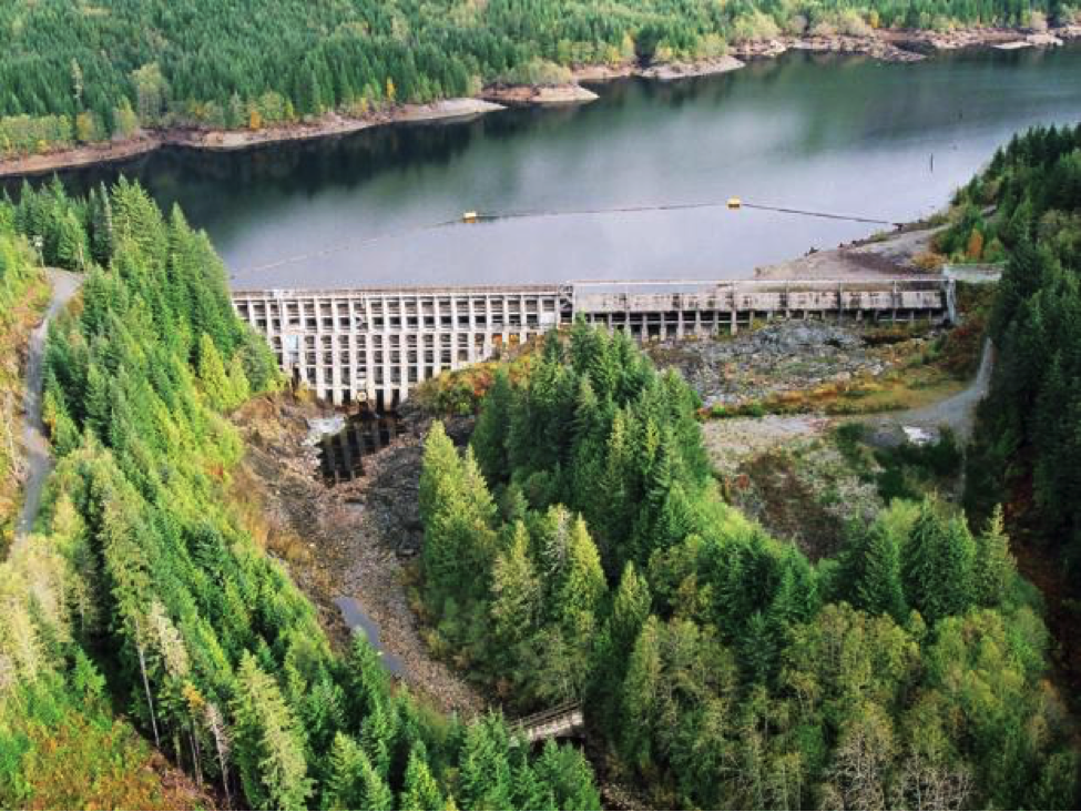The Jordan River Dam (upper Jordan River) on Vancouver Island, British Columbia (BC Hydro photo).