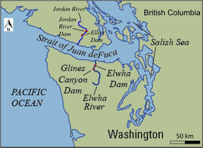 The locations of the two Jordan River and two Elwha River dams. Map adapted from the USGS.