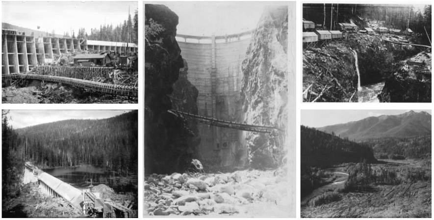 The Jordan River Dam under construction in 1910 (upper and lower left). The Glines Canyon Dam (upper Elwha) after its completion in 1927 (middle). The Elwha Dam construction camp in 1910 (upper right). The Elwha River prior to flooding the reservoir in 1913 (lower right). Images courtesy of Clallam County Historical Society and the Royal BC Museum.