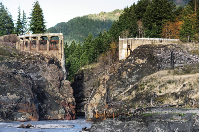 The Glines Canyon Dam (upper Elwha) pictured in 2014 after its removal. Photo by James Wengler.