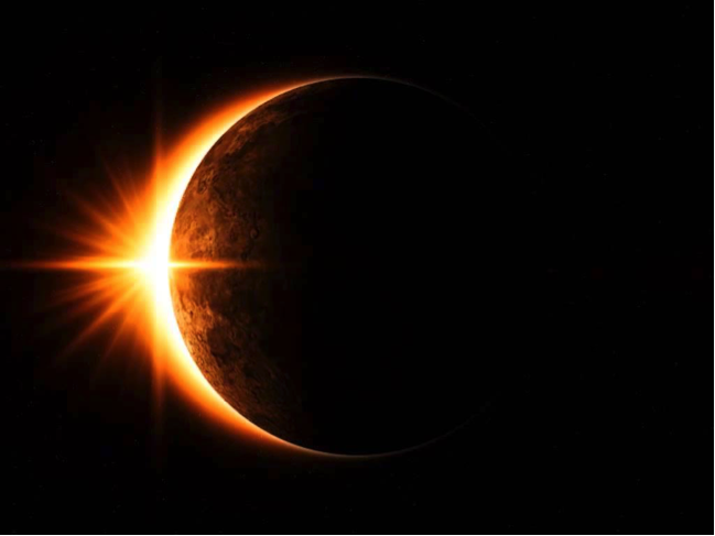 A partial solar eclipse. Image courtesy of NASA.
