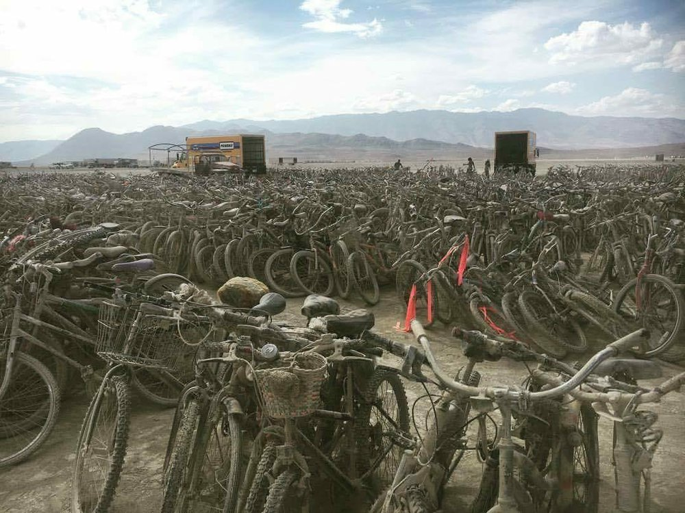 Thousands of bikes abandoned on the Playa following BurningMan2017
