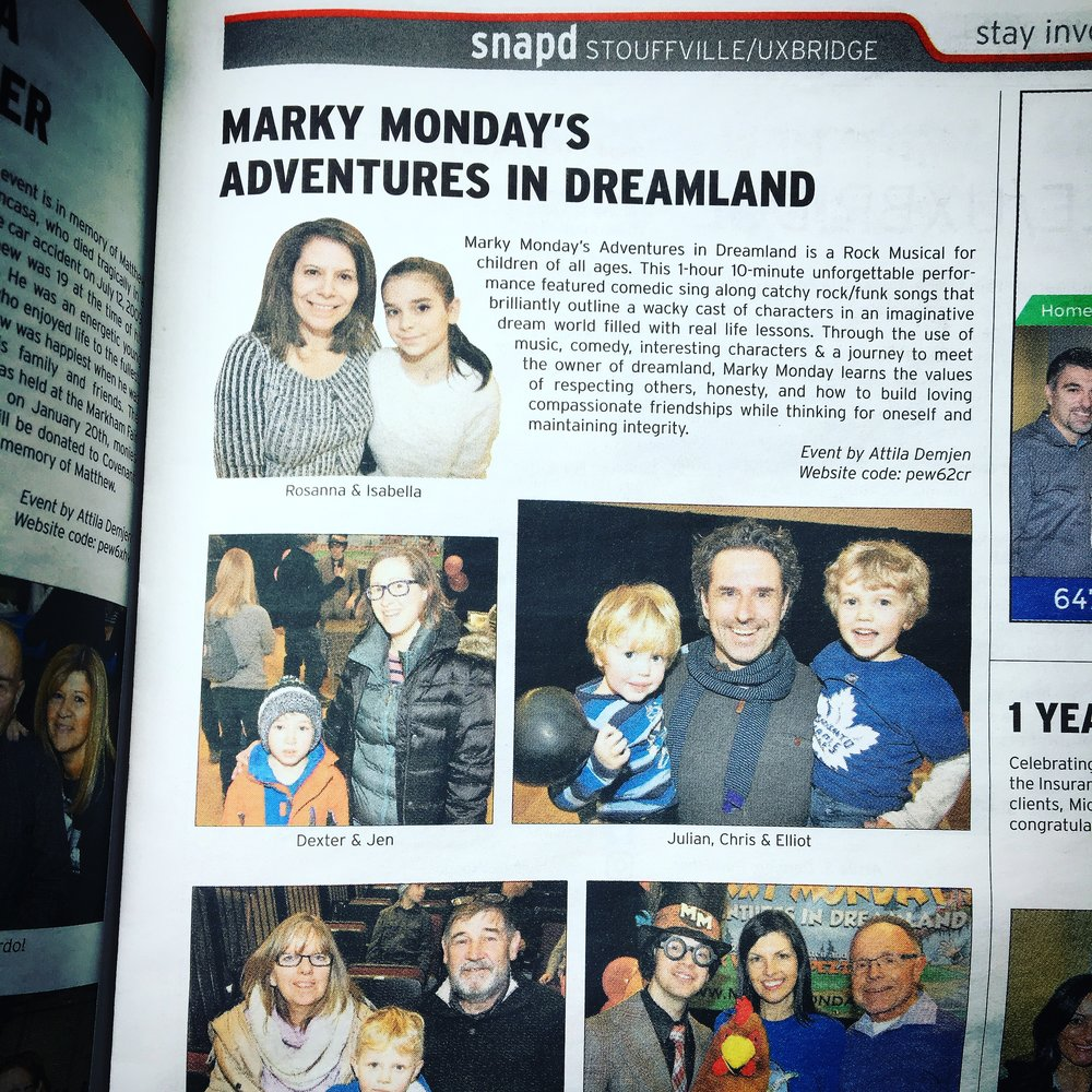 Marky Monday's Adventures In Dreamland - Stouffville Press January 2018
