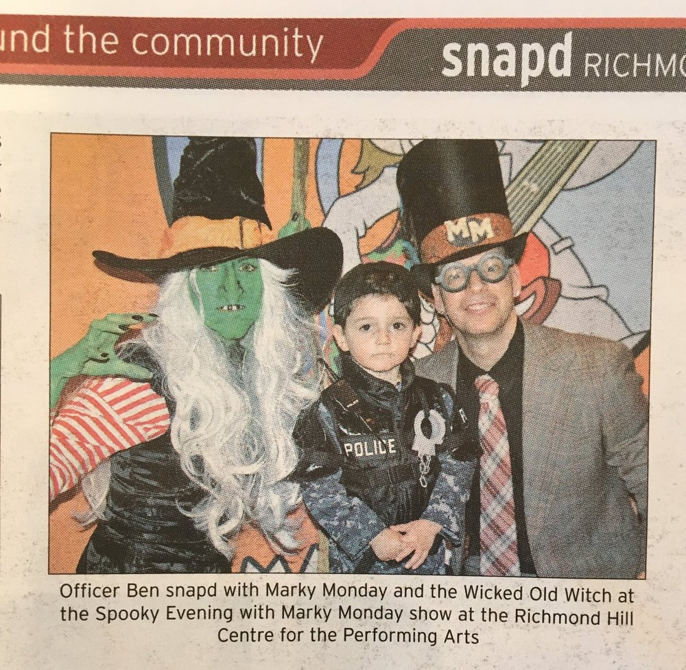 Saturday October 27, 2018 A Spooky Evening with Marky Monday featured in Richmond Hill SNAP'D