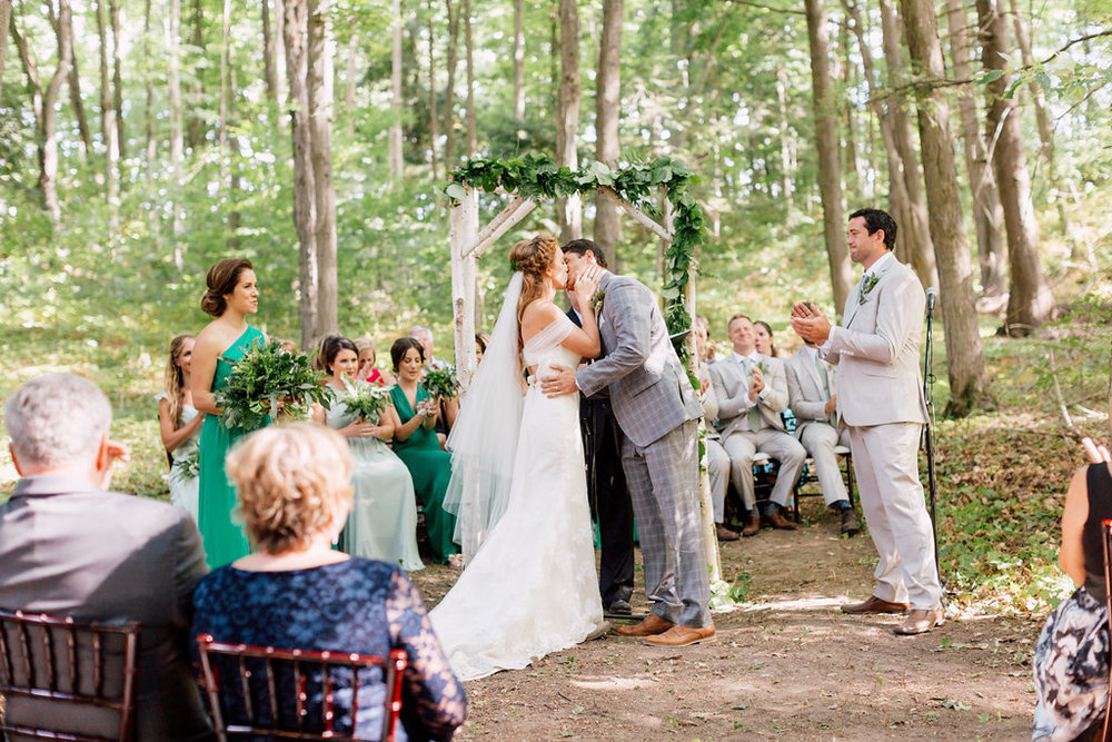 first kiss woodland wedding clementine blush hayley paige