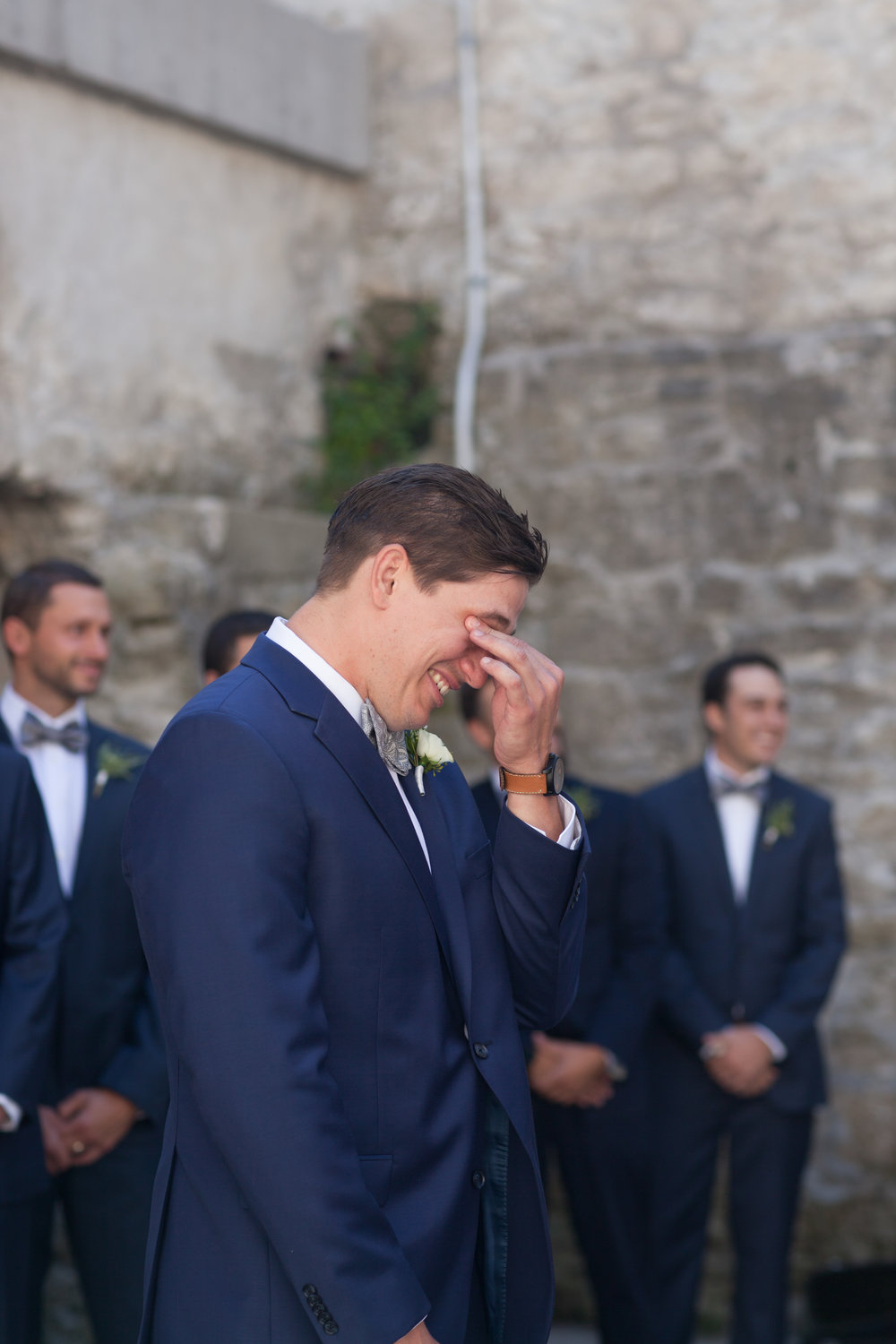 first look groom goldie mill navy suit tears of happiness guelph