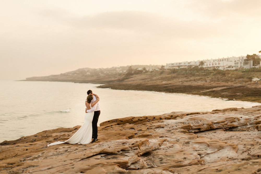 pronovias real bride portugal algarve bride sunset
