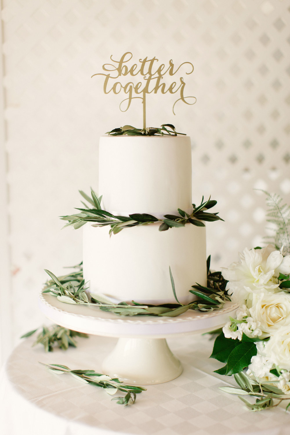 wedding cake greenery better together cake topper