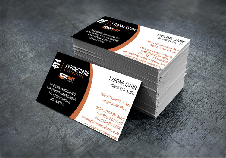 Print j carr marketing business cards tyrone carr amp associates reheart Image collections