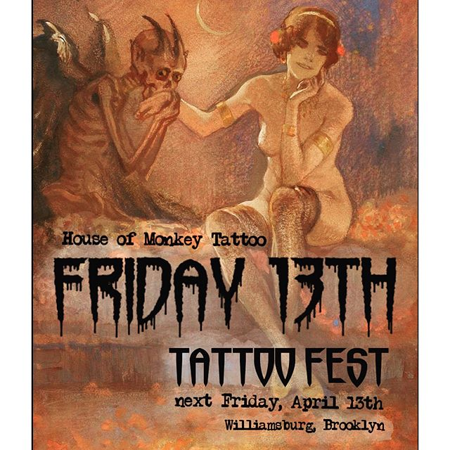 🎨🍎✏️ ART HISTORY is in session for our Friday the 13th tattoo designs 👏🏽 street art to fine art, were shouting out all the hit makers in the art scene throughout history 📖 swipe left to check some of our designs.  DETAILS: tattoos are $60 but if you repost this flyer and tag three friends you get yours for $40. Spread the word and spread the love 🌈 Event starts at 2pm this Friday, first come, first serve. Cash only please 🤓💰 ~HOUSE OF MONKEY TATTOO