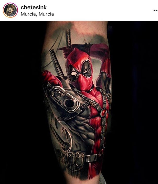 Amazing #deadpool piece by our guest @chetesink , for the @nyempirestatetattooexpo 23 yrs old, what do you think??? This boy has some future? He will be @houseofmonkeytattoo in july . Email us to get tattooed by him #deadpooltattoo #avengers #avengerstattoo #brooklyntattoo #nybestattooartist