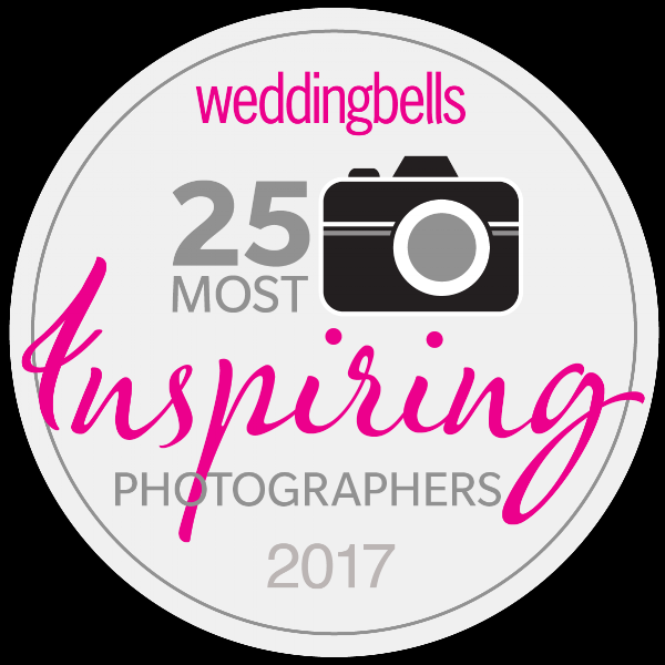 "Voted one of the ""25 Most Inspiring Photographers 2017"" by Wedding Bells Magazine"