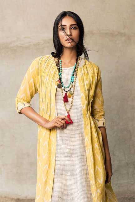 Tunic + Jacket : Anita Dongre Grassroot Necklace : Maya Bazaar