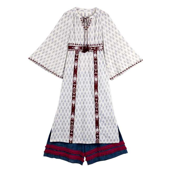 Handwoven Ikat dress with chambray fringed pyjamas : Shivangi Sahni