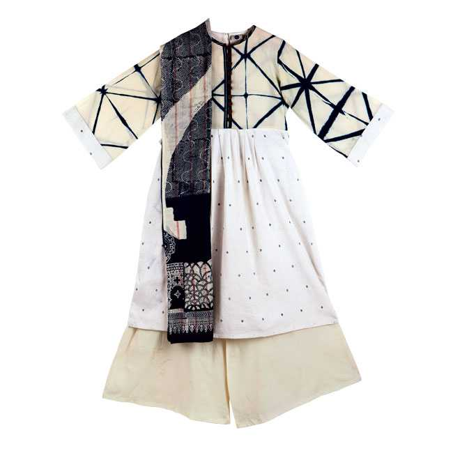 Kala cotton and natural indigo kurta, handwoven cotton pyjamas, indigo abstract print cotton scarf : Roha