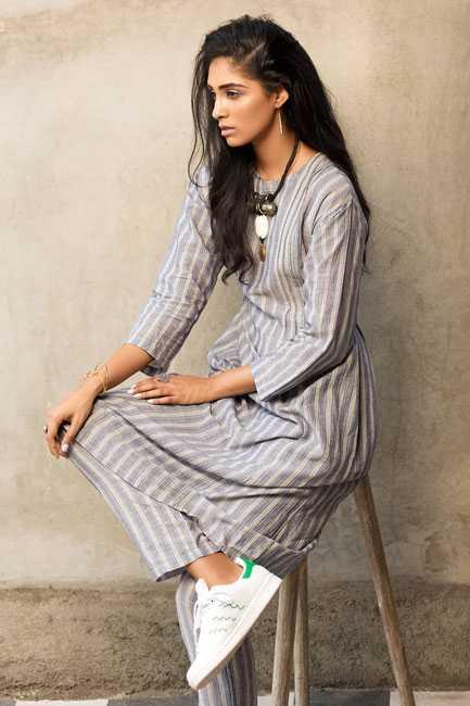 Striped kurta + kurta : Eka Necklace : Bungalow 8 Bangles : Curio Cottage Sneakers : Adidas Originals