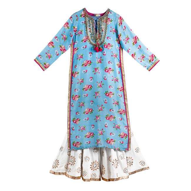 Cotton-silk kurta, palazzo pants with silver patti : Gopi Vaid