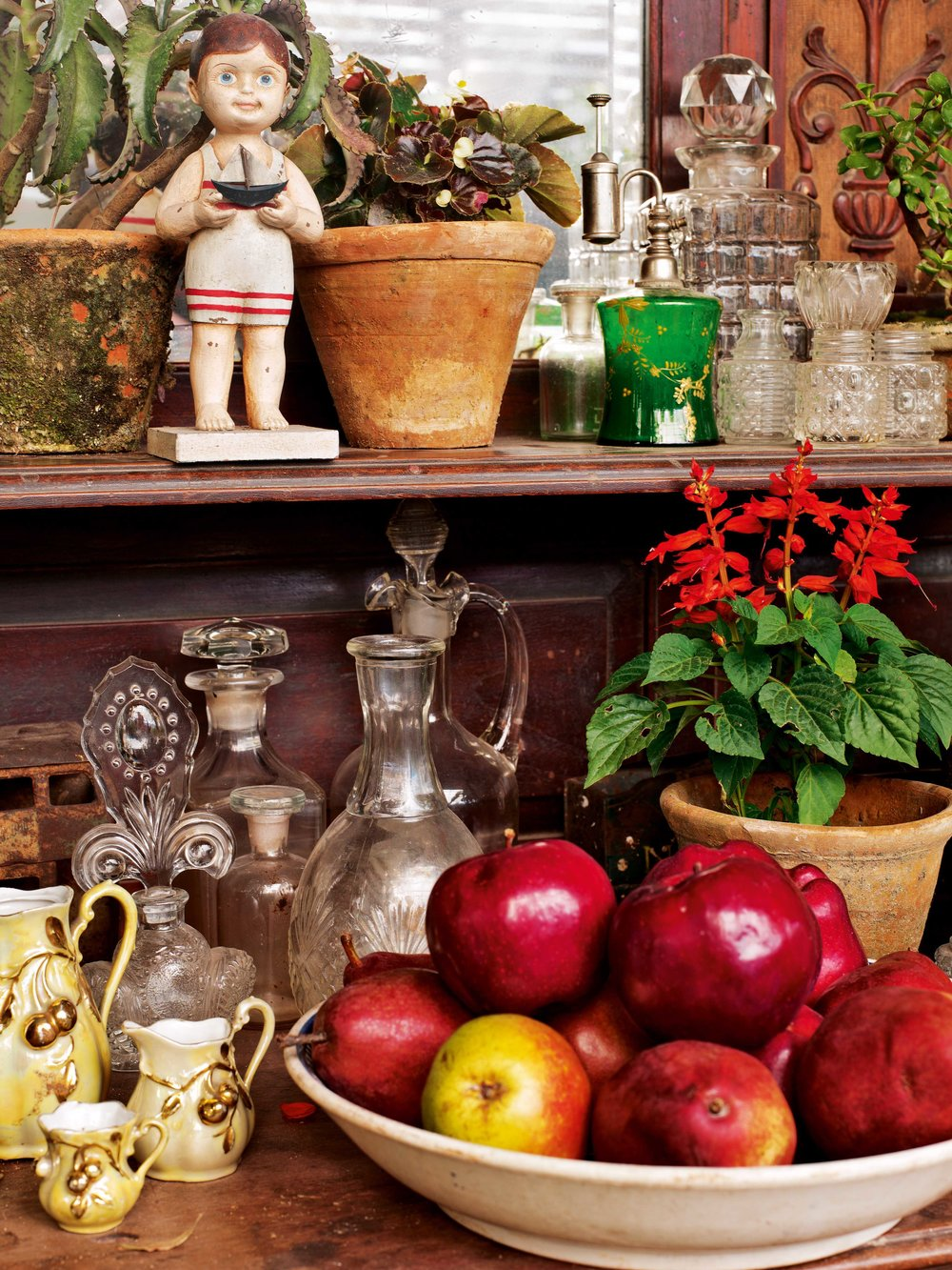 Object, curios and memorabilia in one corner of Mukherjee's terrace garden.