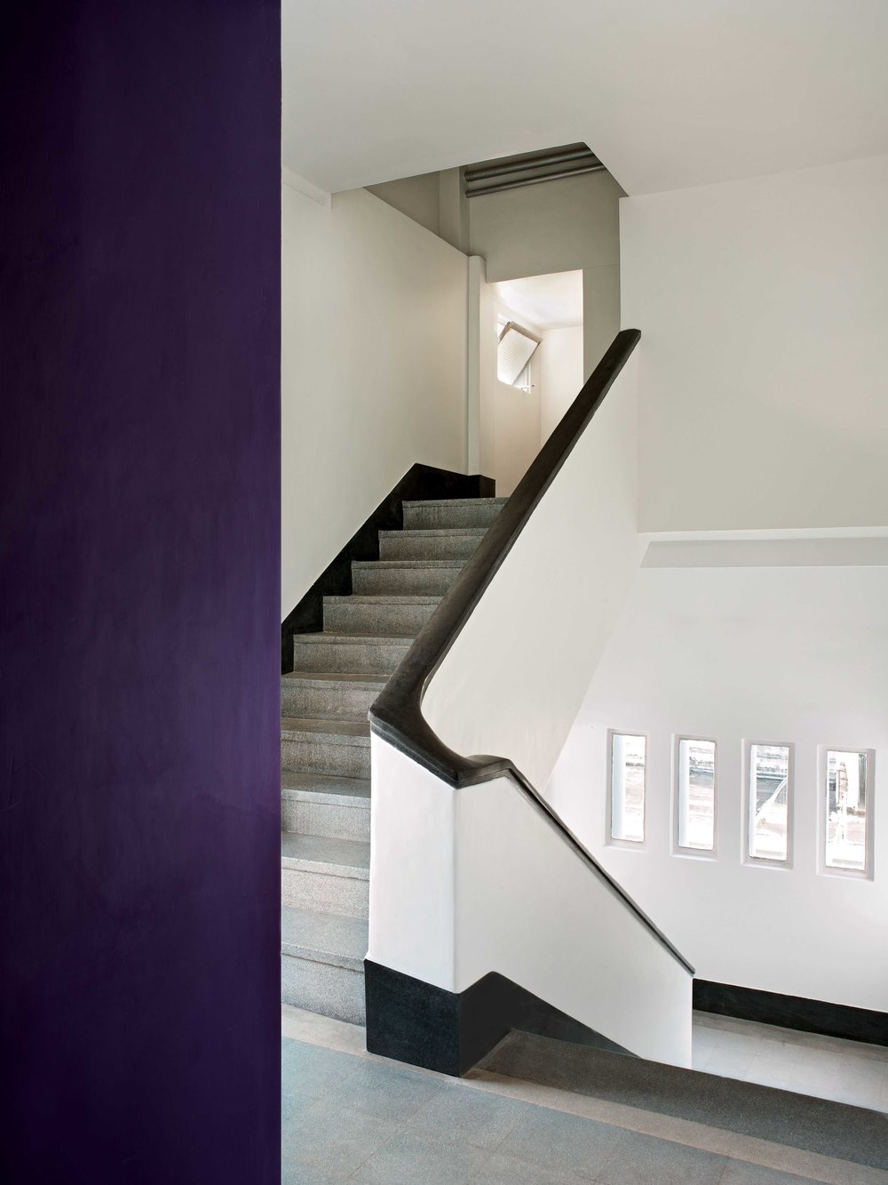 The staircase leading to Mukherjee's flat is made of granite, marble and plaster.