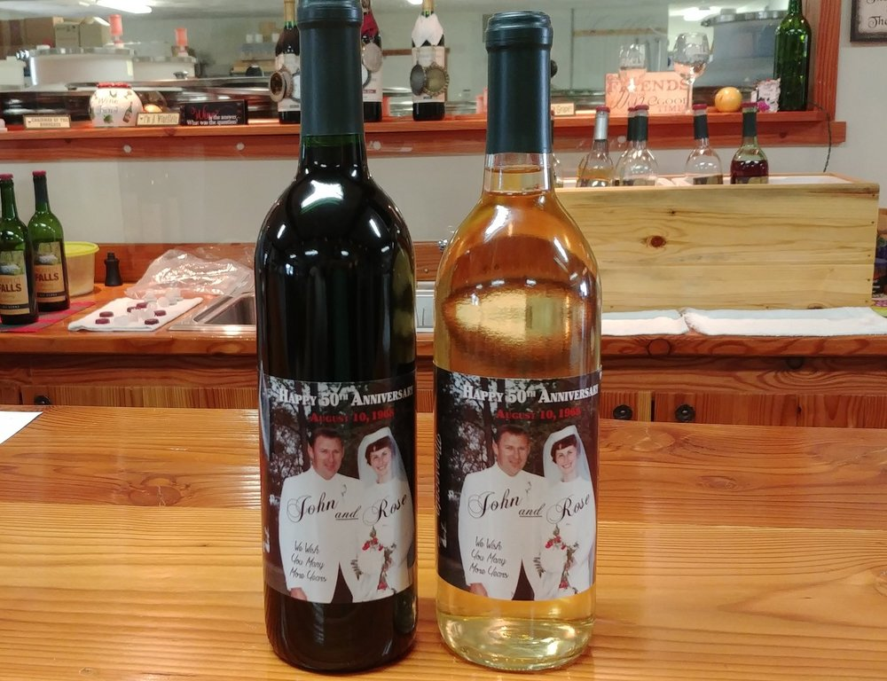 Custom Wine Labels - A wonderful way for your guests to remember your event, we can help you create custom wine labels to cover your favorite Prospect Falls wine bottle. Send us an email at prospectfallswinery@gmail.com to get started!