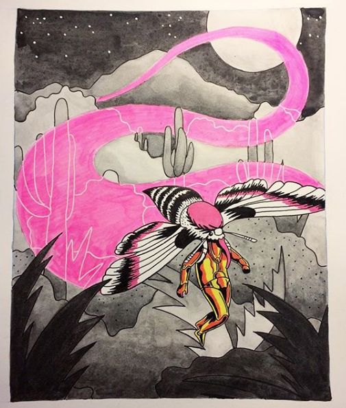 Done on better paper with india ink and pigment markers, this drawing solidified my decision to turn it into a painting.