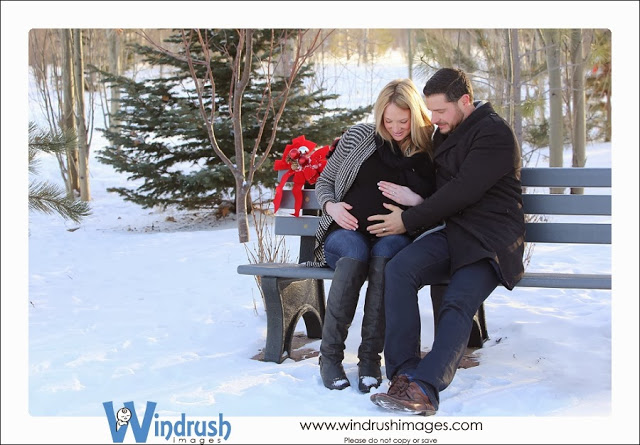 Winter maternity photo of couple expecting a baby on a park bench in Silver Springs Botanical Gardens in Calgary at Chistmas time
