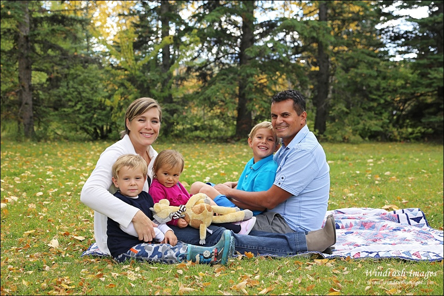 Fall Family photos in Baker Park for family of 5 in Calgary photographed by Windrush Images