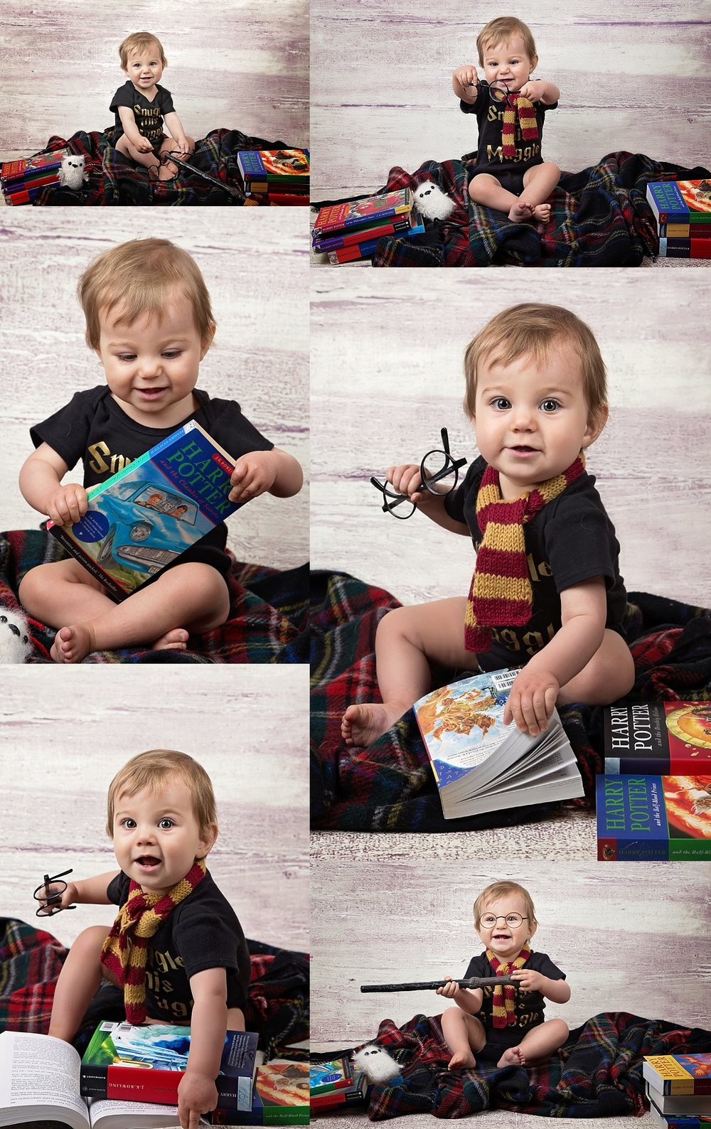Harry Potter themed photos for little girls first birthday pictures by baby photographer Suzie Broadbent in Calgary, Alberta