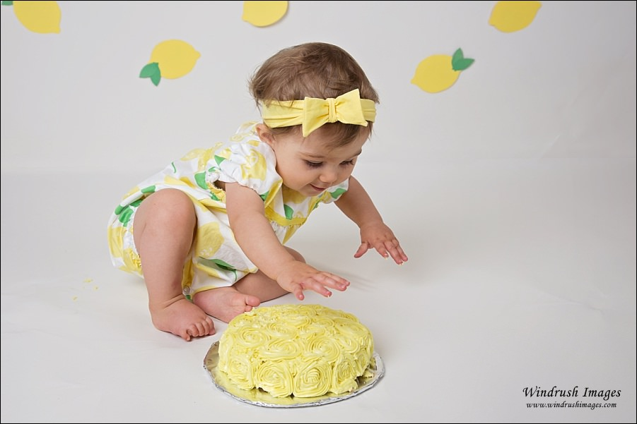 Little-girl-starting-to-smash-yellow-cake-in-lemon-cake-smash-photo-shoot-in-Arbour-Lake-Calgary