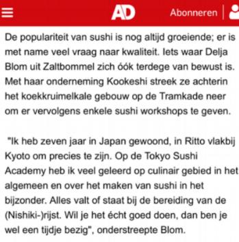 - Algemeen Dagblad heeft een interview geplaatst met Kookeshi! Mei 2017