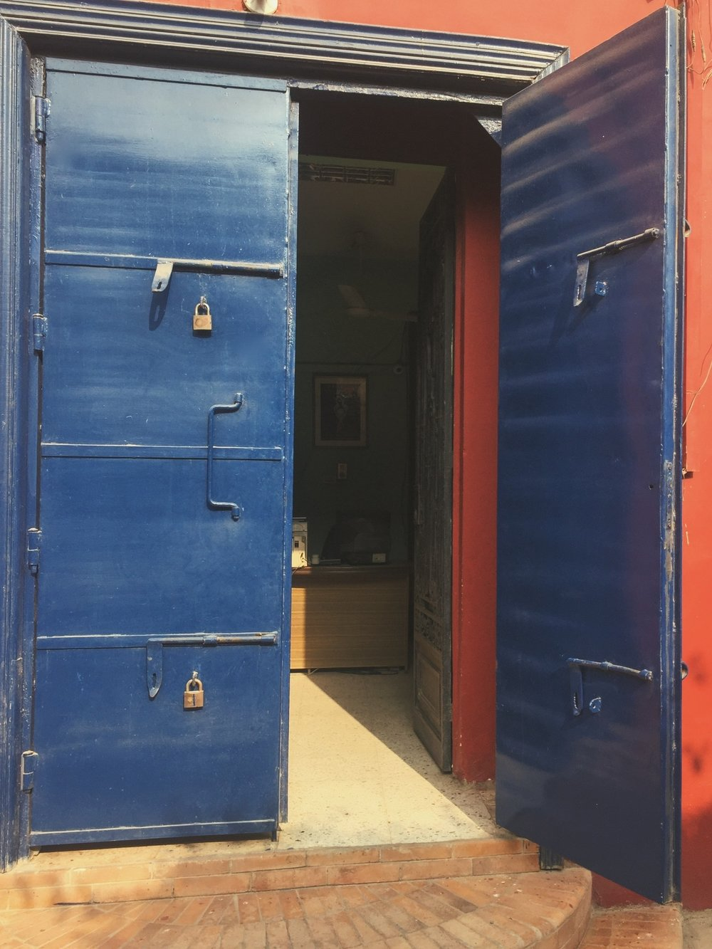 The enchanting blue door that leads into the factory ...
