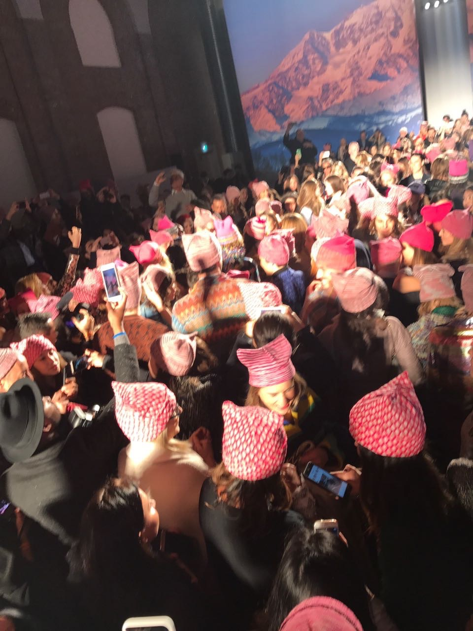 Missoni and Pink Hats. Pink and Yellow have been dominating on the runways this season.