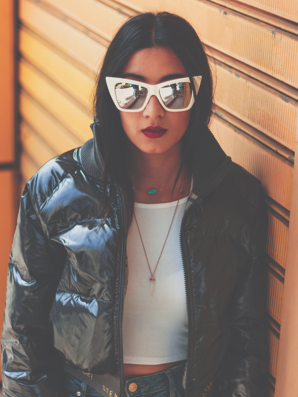 Quay Sunglasses ,  Zara jeans ,  Stella Mccartney Limited Edition for Adidas Women Collab jacket ,  Brandy Melville Crystal Pendant ,  MAC Viva Glam II Lipstick