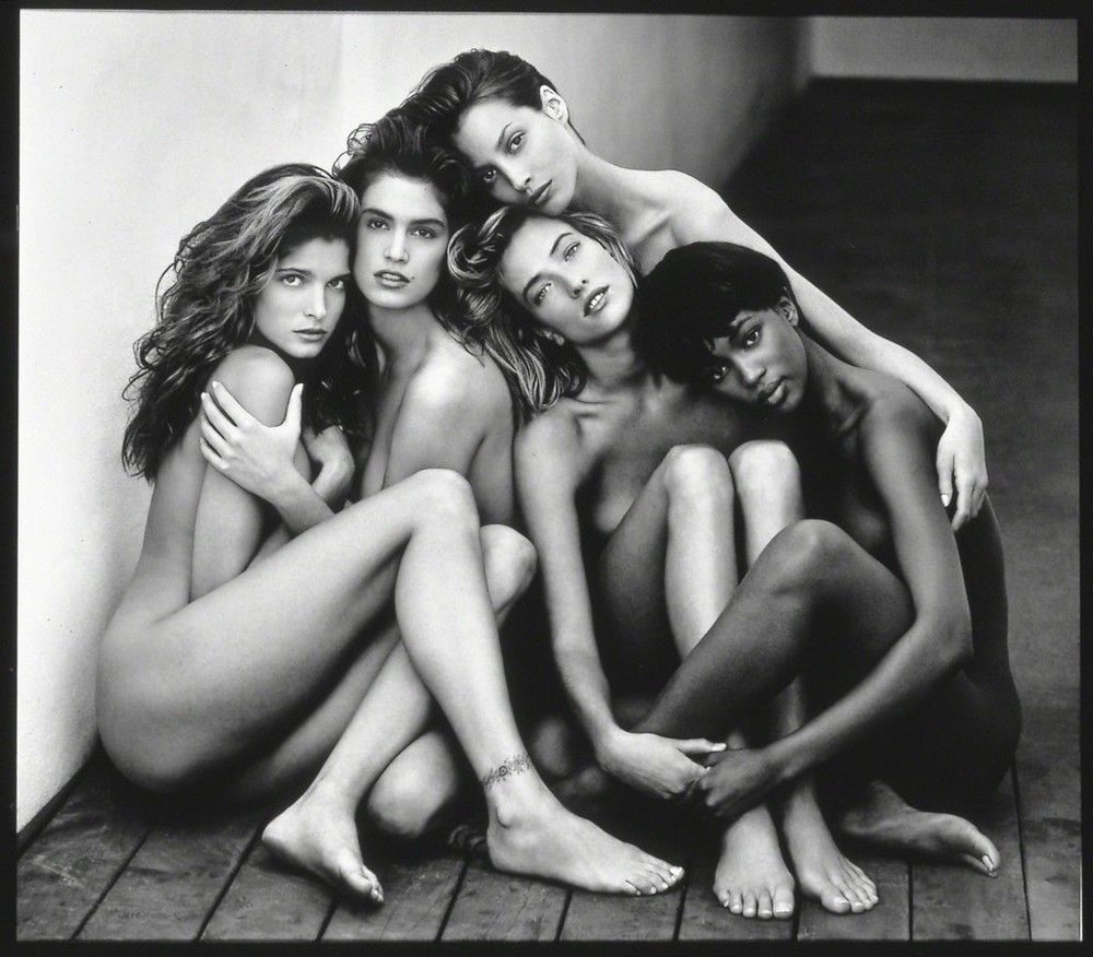 "Stephanie, Cindy, Christy, Tatjana, Naomi, Hollywood, 1989 , 1989  ""Herb Ritts"" at Museum of Fine Arts, Boston"