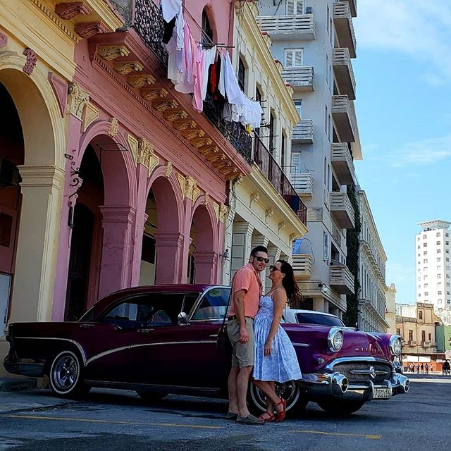 Hola! Yes, we've been quiet for a while, just returned from Habana which has got to be the best place in the world to unplug... We have got to tell you about the place we stayed at... @hostal_balcones_muralla  it was unbelievable. For $98 cuc you get to stay in a restored 1800 casa. The owner Richard spent 4 years restoring this place to it's former glory. So much attention to detais, to same time period furniture, decor, cutlery, etc. The people who worked there... Cristobal, Harold and Danny are the sweetest and most accommodating people... love them! We had a beautiful room that had 5 balconies that opened onto a true authentic street of Havana, yes loud, but we enjoyed lounging in bed listening to the hustle and bustle of the streets.  This place is in the heart of Old Havana, short walking distance to all tourist attractions but off the beaten track, authentico Havana. Habana itself is incredible, we literally spent 4 days wandering and getting lost on the streets from morning to night, not sure where we were going but discovering new beautiful plazas (town squares), gorgeous pedestrians alleys, raw and real Havana roads at every corner. The people were amazing, smiling and friendly everywhere we went. Yes, everyone is trying to sell you something and hustle you, but a quick no thank you and they leave you alone. Super safe, even at night we cruised the street, our speaker going dancing with the locals and making friends on the Malcon.  We fell in love with Habana, the cuban people and each other all over again.. If you are someone who appreciates history, likes to become unplugged from the world, wants to see something other that the all inclusive cuba resorts get your butt to Havana. Mi corazón está en la Habana😍 #havana #habana #habanavieja #cuba #classiccars