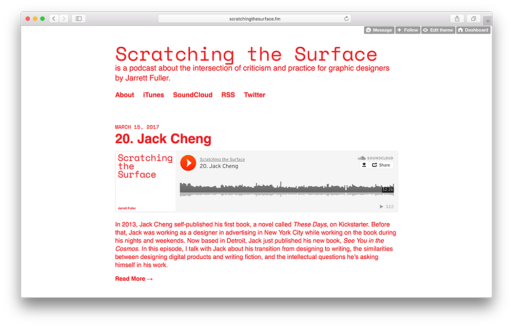 Scratching the Surface website