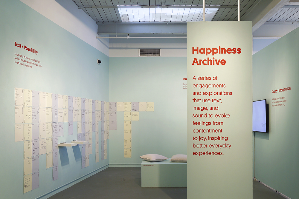 The exhibition has three sections: Text + Possibility, Image + Observation, and Sound + Imagination.