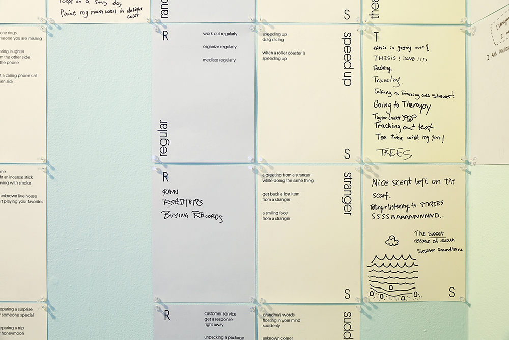 The exhibition was a continuous process of collecting. Empty pages placed on the wall invited visitors to add more moments.