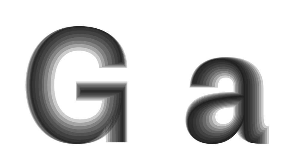 'G' and 'a' are control characters for these two font styles. This image shows the growing of Greed's axis. (Greed 0-200, Pride 100, Anger 100)
