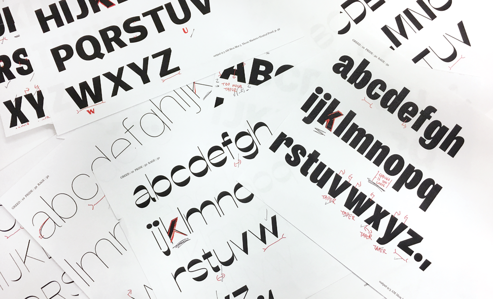 Printed out proofs of each style drawing of State. I drew 10 styles in total to make this typeface work well with variable font format.