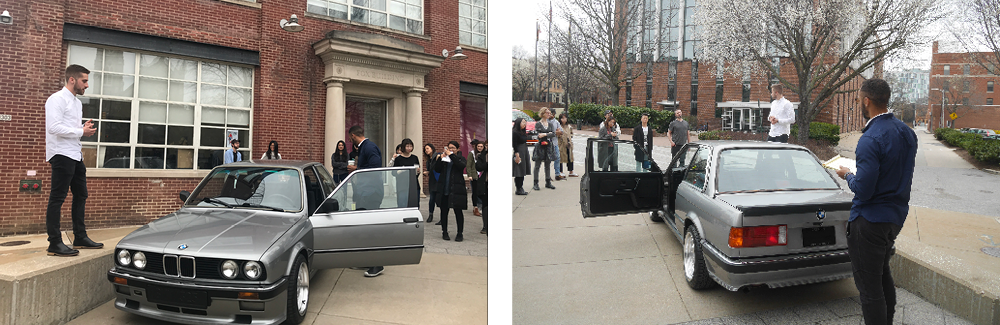 The car remained on campus for the opening of the show and the thesis defense.