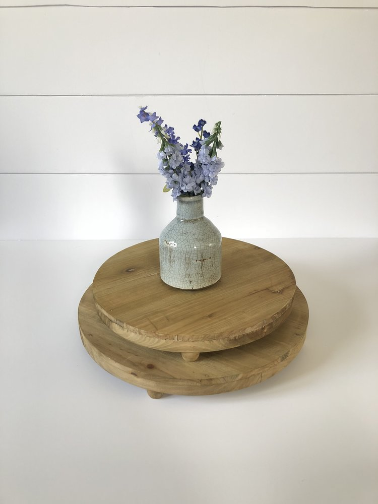 Large and Small Round Wood Pedestals