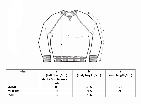 NODNOL men's crewneck sizing guide