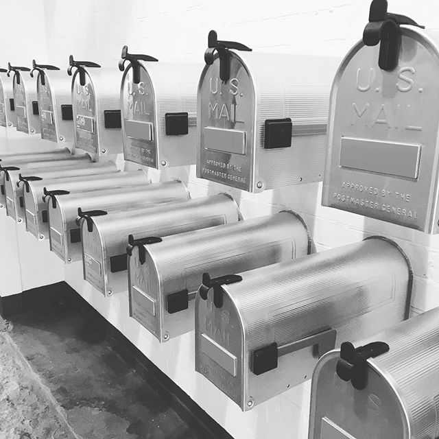 Y O U • G O T • M A I L US Mail boxes.  Snapped in the foyer of a slick Shoreditch office. I want one ✉️📫 #shoreditch #yougotmail #whathappenedtowritingletters