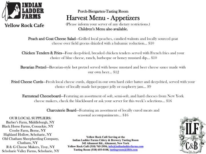 2018 Harvest Menu - Appetizers