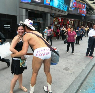 Got a hug from the Naked Cowboy of Manhattan