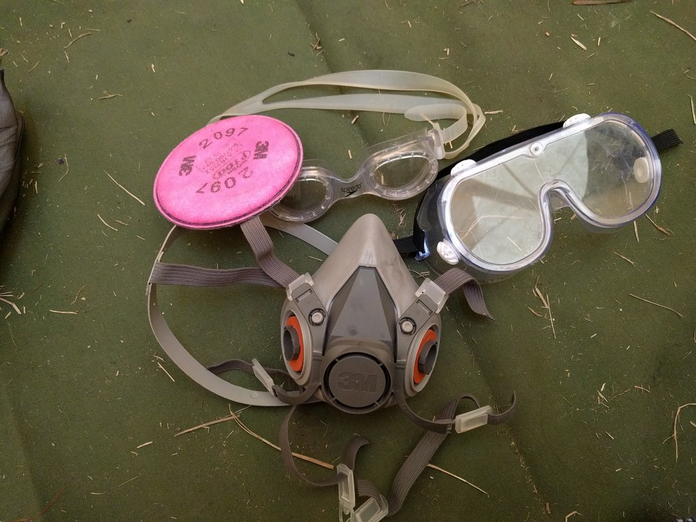 Respirator and goggles after Water Cannon Night