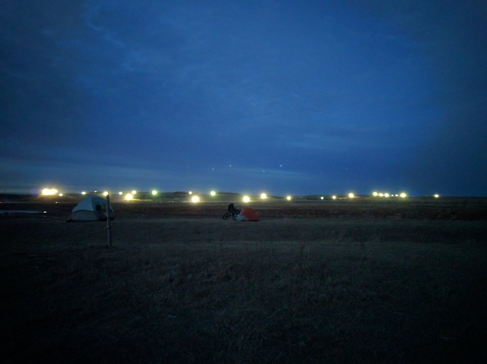 DAPL spotlights as seen from our tent